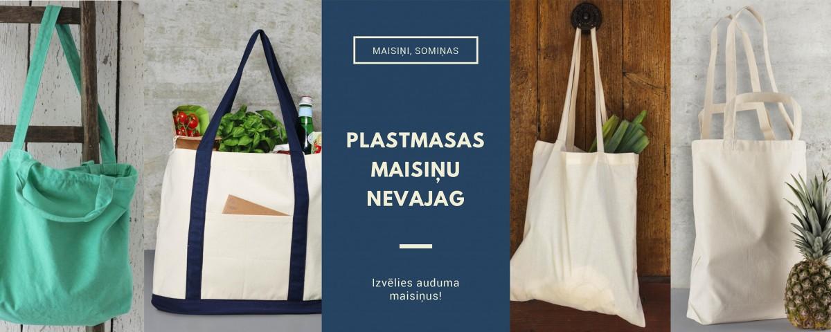 Kokvilnas auduma maisiņi, somiņas ar apdruku